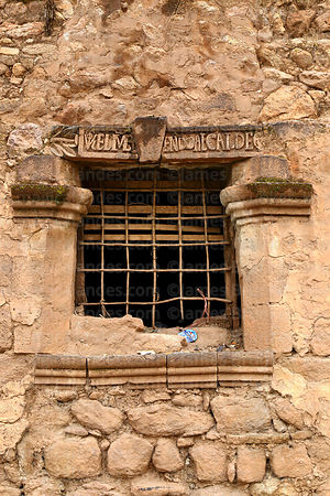 Detail of window of Casa de la Inquisición, Plaza de Armas, Juli, Puno Region, Peru