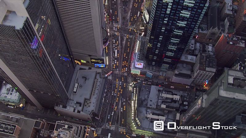 Evening flight over Times Square.