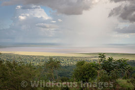 Rain clouds over Lake Manyara, Lake Manyara National Park, Tanzania; Landscape