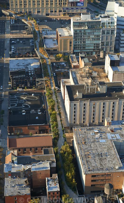 Aerial photograph of the High Line in Manhattan, New York City