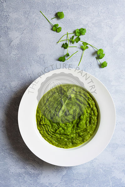 Broccoli soup in a bowl.