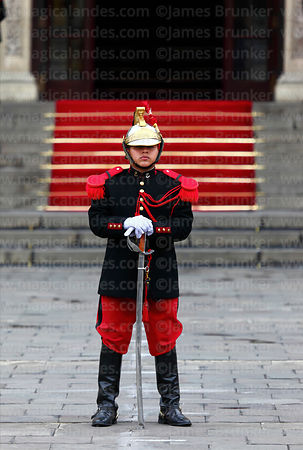 Ceremonial guard in front of government palace, Plaza de Armas, Lima, Peru