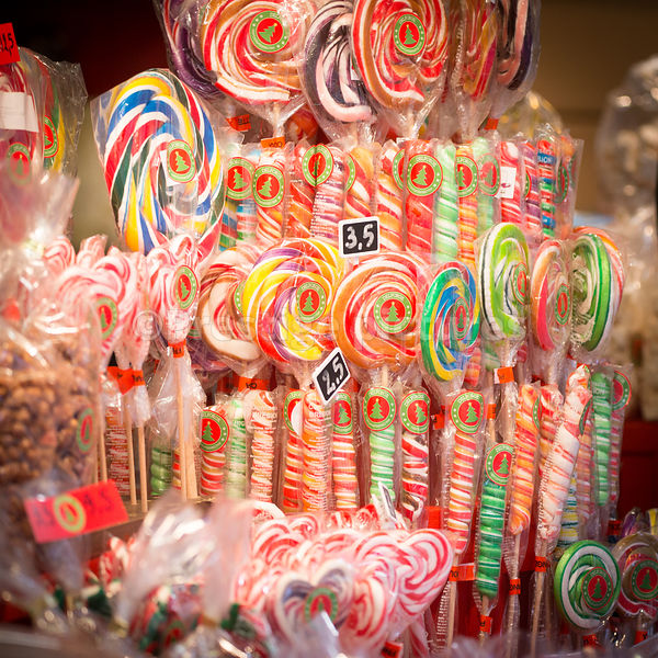 Festive candy on sale at a Belgian Christmas Market