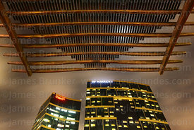 JW Marriott Hotel and wooden canopy in Larcomar at sunset, Miraflores, Lima, Peru