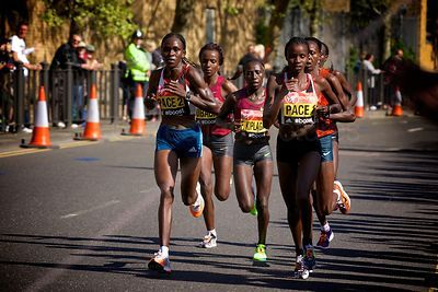 Leading Group of Runners in the Elite Womens Event including Edna Kiplagat (1st) at the 2014 Virgin London Marathon