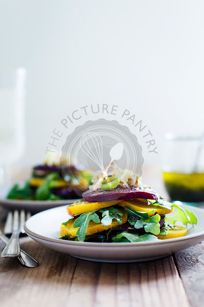 Roasted Beet Salad with Crispy Shallots & Tarragon-Basil Infused Olive Oil