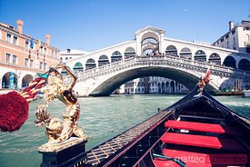 From a gondola near Rialto bridge, Venice, Italy