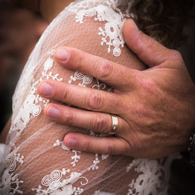 Detail of groom hand with ring