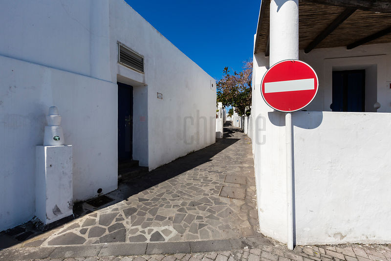 Narrow Street and No Entry Sign