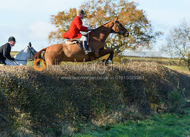 David Mee jumping a hedge at Barrowcliffe Farm 18/11
