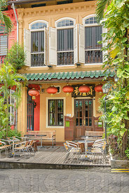 SINGAPORE CITY, SINGAPORE - OCTOBER 09, 2016:  A beautiful Chinese styled house in Emerald Hill Road, which is located off Orchard Road in central Singapore.