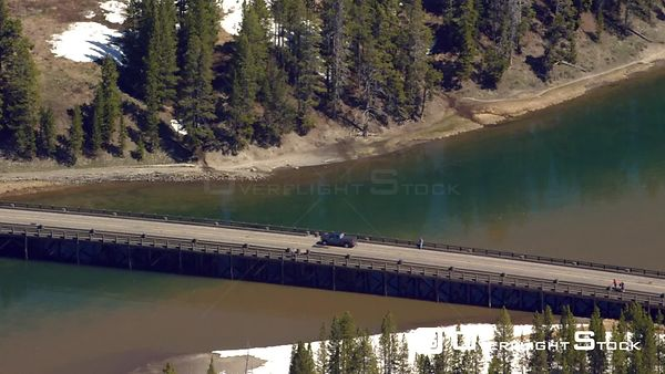 Fishing Bridge crosses the Yellowstone river as it flows out of Yellowstone Lake, in Yellowstone National Park