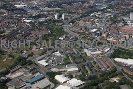 Oldham aerial photograph of the area surrounding Havelock Street, Scottfield and Falcon Street Primrose Bank looking towards Oldham Way
