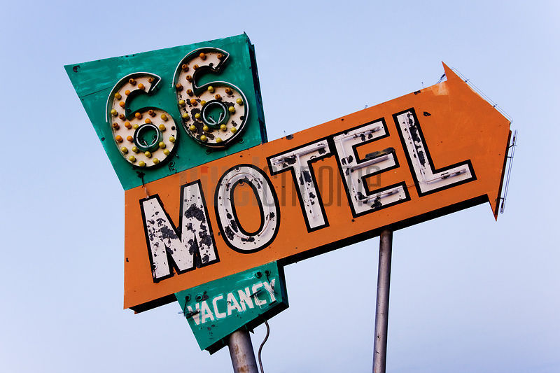 66 motel sign, needles, california