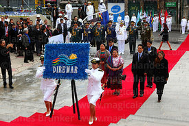 Guatemalan indigenous rights activist Rigoberta Menchú accompanies members of DIREMAR as they present a floral tribute at the start of official events for Dia del Mar / Day of the Sea, La Paz, Bolivia