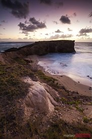 Sunrise over rocky coast of Martinique Caribbean