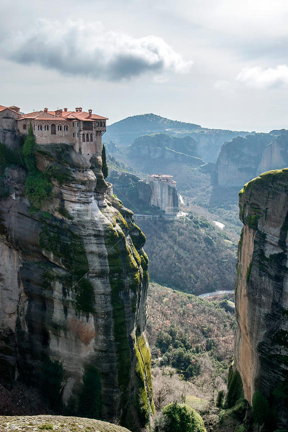 The Holy Monastery of Varlaam, built in 1541. Meteora Rock Monasteries UNESCO World Heritage Site Kalambaka, Thessaly Region, Greece, Mediterranean, February 2015.