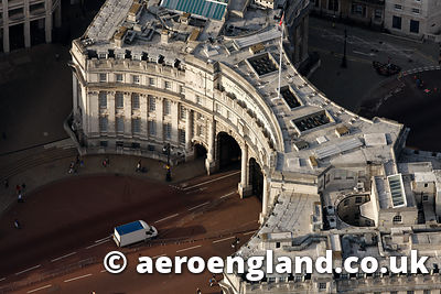 aerial photograph of  Admiralty Arch  London UK