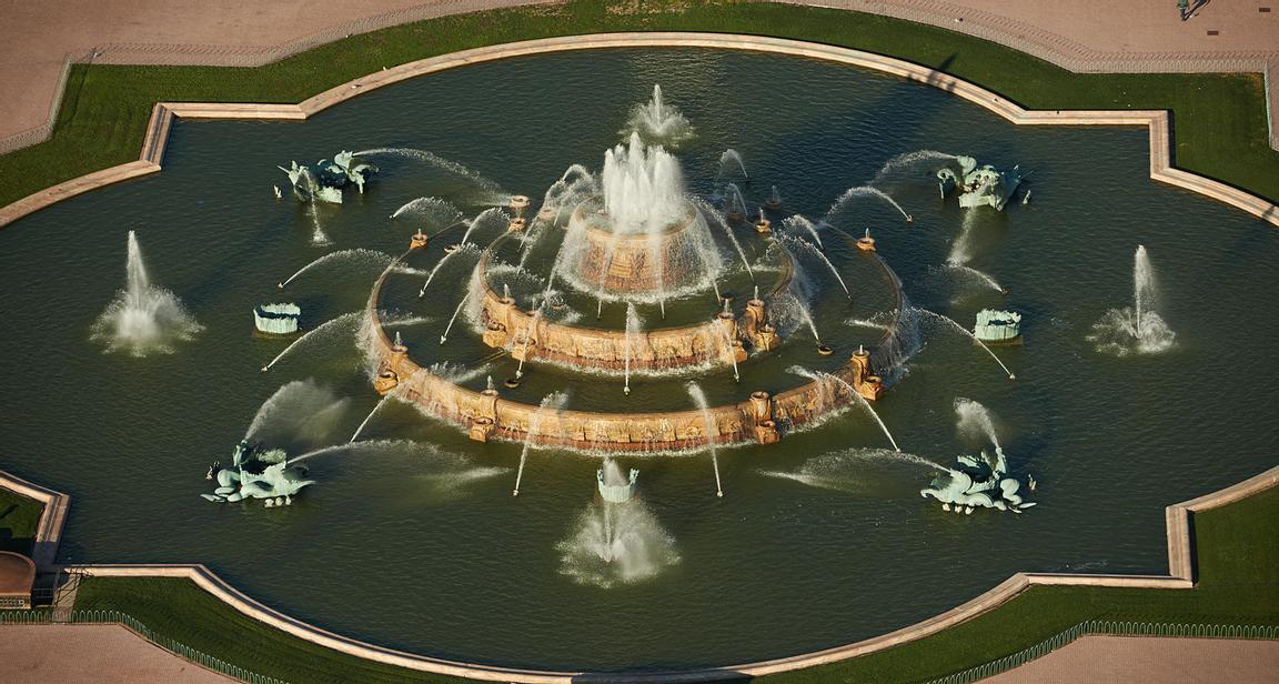 Chicago Illinois Aerial photograph of Buckingham Fountain in Grant Park