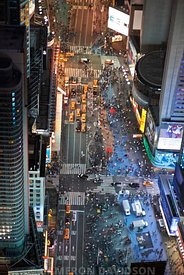 Aerial photograph of Times Square at night