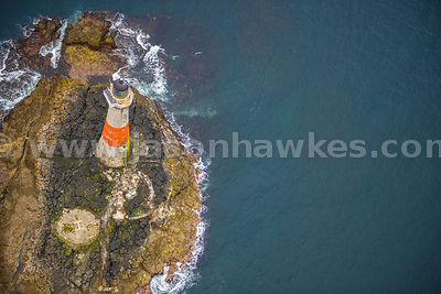 Aerial view of Dubh Artach Lighthouse, Scotland