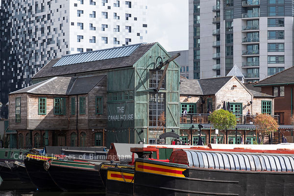 The Canal House and Barges on Gas Street Basin, Birmingham, England