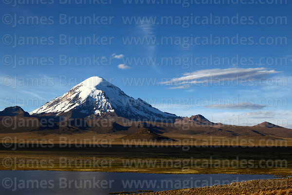 Sajama volcano and lake at Lagunas, Sajama National Park, Bolivia