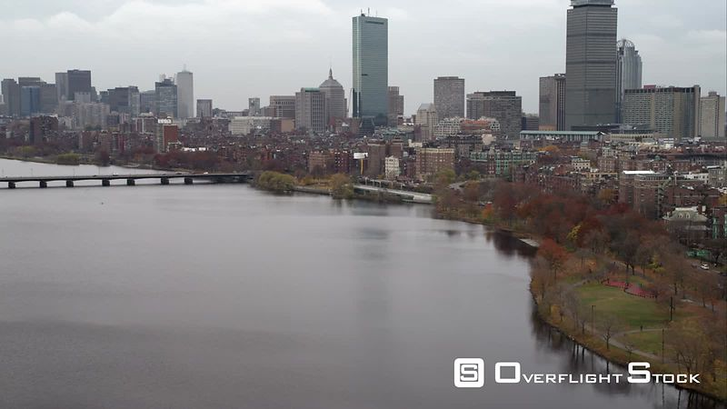 Over the Charles River, Approaching Downtown Boston. Shot in November