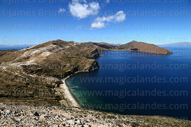 View looking south from summit of Cerro Thikani at northern end of Sun Island, Lake Titicaca, Bolivia