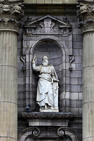 Statue of Saint Thomas on main entrance facade of cathedral, Lima, Peru