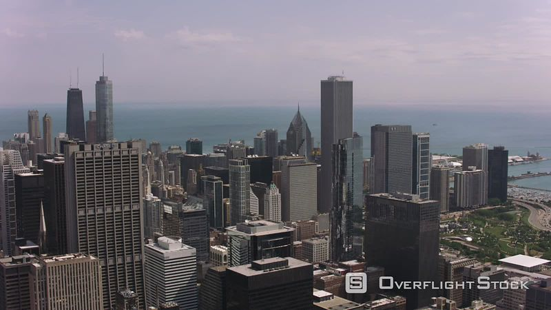 Chicago, Illinois Daytime aerial shot of downtown Chicago.  Shot with Cineflex and RED EpicW Helium.