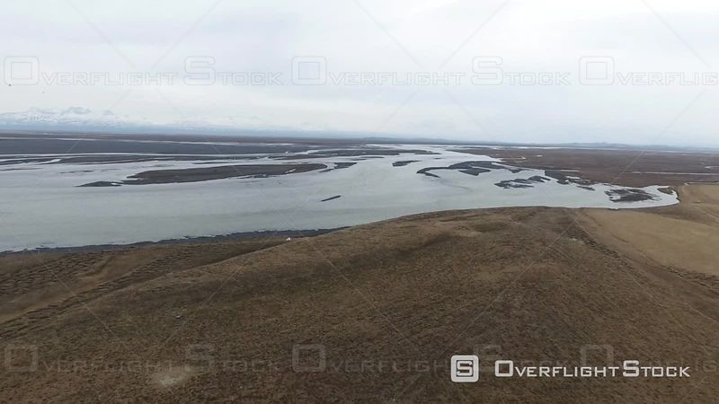 Aerial View of a River Filmed by Drone, Iceland