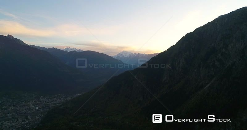 Alpine Landscape, 4k Aerial View Over a MountaTown, Sunny Autumn Evening Dawn, Blatten,valais, Alps of Switzerland