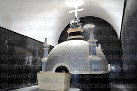 Marble tomb of Enrique Torres Belón, church of Santiago the Apostle / Immaculate Conception, Lampa, Peru