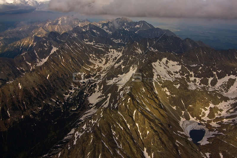 Aerial view of the heart of the High Tatras, culminating with Mount Gerlach (2,665m) the highest peak on the right, High Tatras, Carpathian Mountains, Slovakia, June 2009