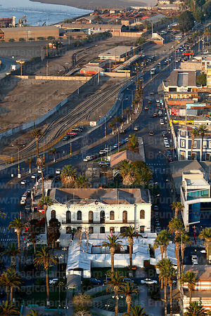 Aerial view of now unoperational Arica to La Paz railway terminal and disused tracks from El Morro headland, Arica, Region XV, Chile
