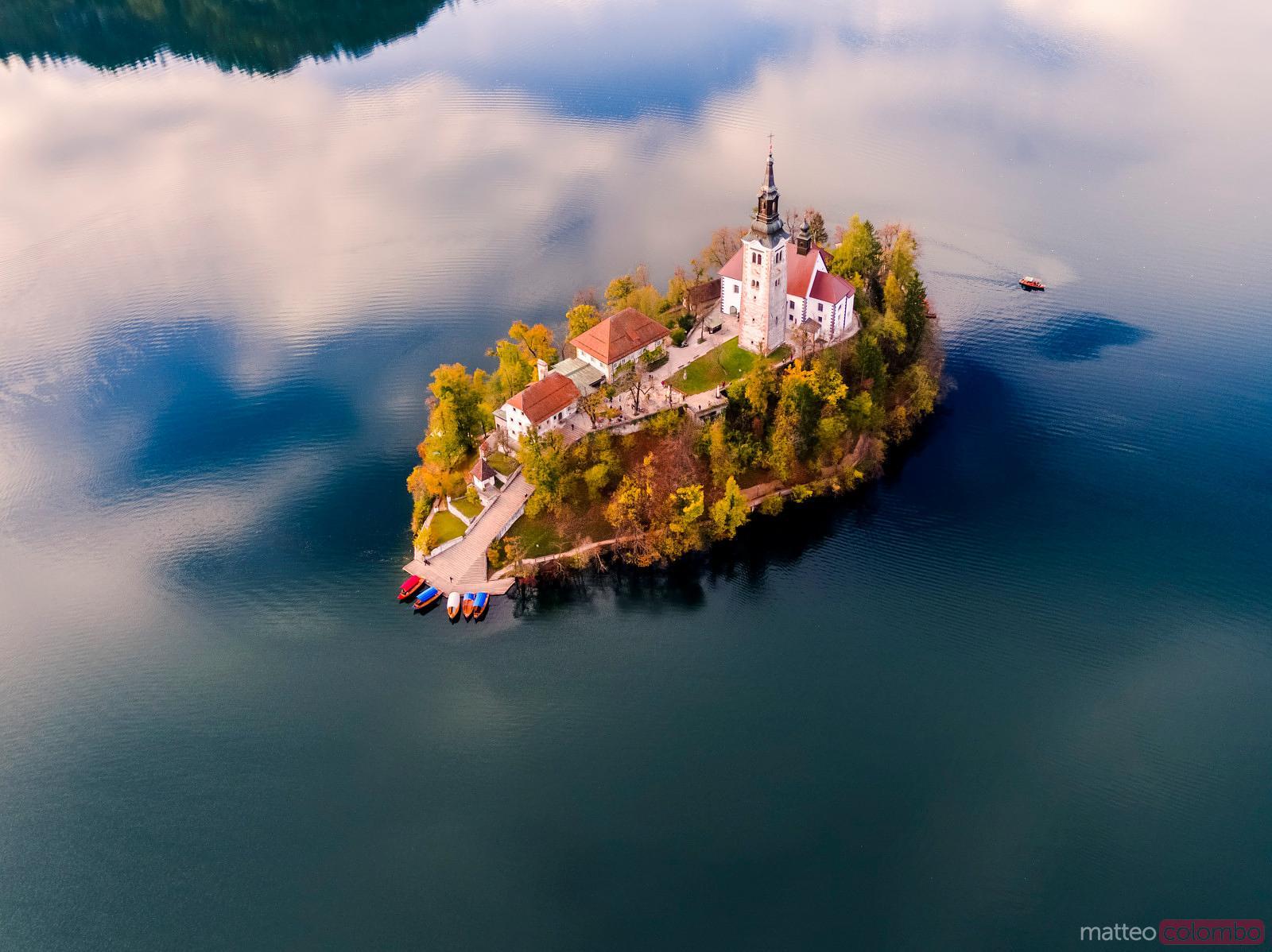 Aerial drone view of Bled island in autumn, Slovenia
