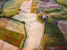 Aerial view of Belvedere farmhouse at sunrise, Tuscany, Italy