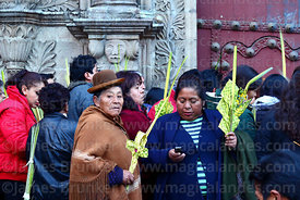 Women holding crosses and ornaments made out of palm leaves outside San Francisco church before mass on Palm Sunday, La Paz, Bolivia