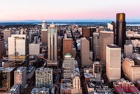 Aerial view of Seattle downtown at sunset, USA