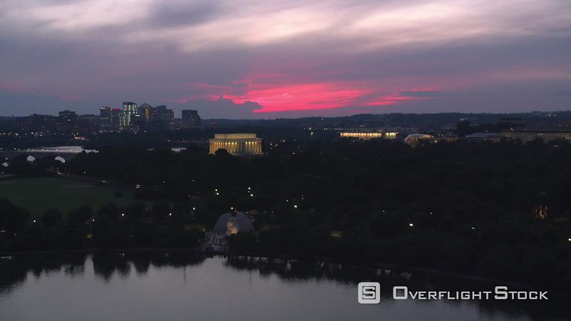 Washington, D.C. Flying towards Lincoln Memorial at sunset.  Shot with Cineflex and RED EpicW Helium.