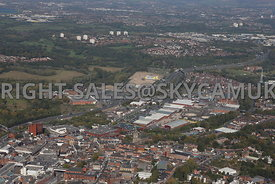 Stockport aerial photograph looking across Stockport town centre towards the Peel Centre Great Portwood Street