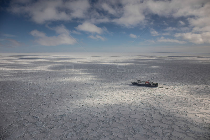 Aerial view of MV Ortelius in  sea ice, near Ross Island, Ross Sea, Antarctica.
