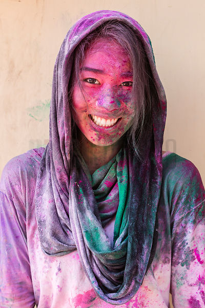 Melissa Hom Covered in Holi Colored Powder