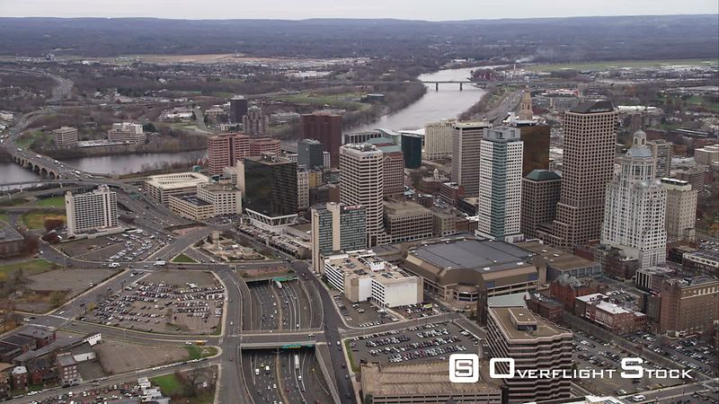 Approaching Downtown Hartford, Connecticut. Shot in November