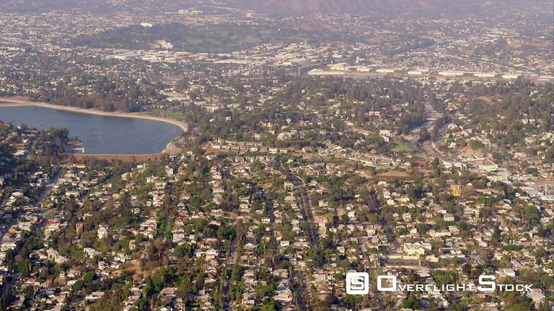 Aerial View Of The Silver Lake Reservoir And Residential Area, Los Angeles, RED R3D 4k California