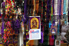 Stall selling rosaries and Señor de los Milagros icons, Lima, Peru