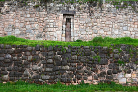 Inca stone walls of Manco Capac's palace, San Cristobal, Cusco, Peru
