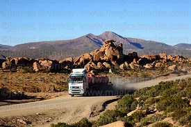 Chemical tanker truck on Route 701 passing eroded volcanic rock formations, Cerro Chuhuilla volcano in background, Nor Lípez Province, Bolivia