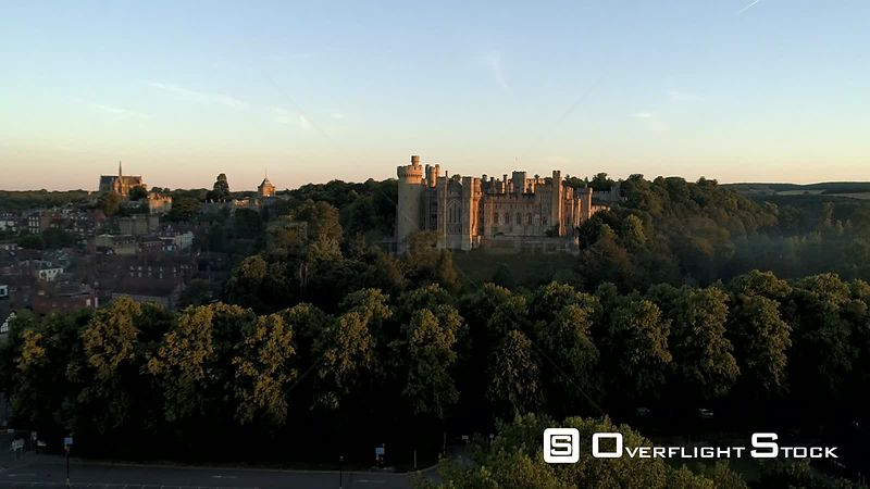 Static drone video clip of Arundel Castle and town in the light of a summer dawn